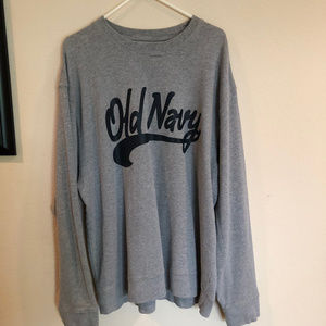 Old Navy gray sweatshirt with blue Old Navy logo